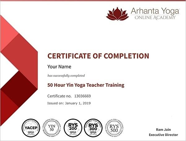 online yoga certificate sample