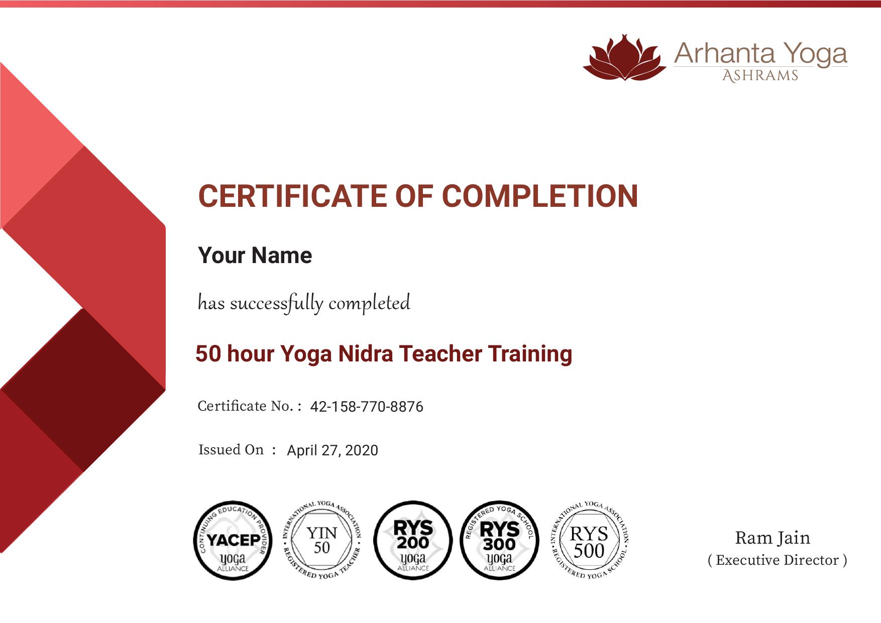 Yoga nidra Certificate