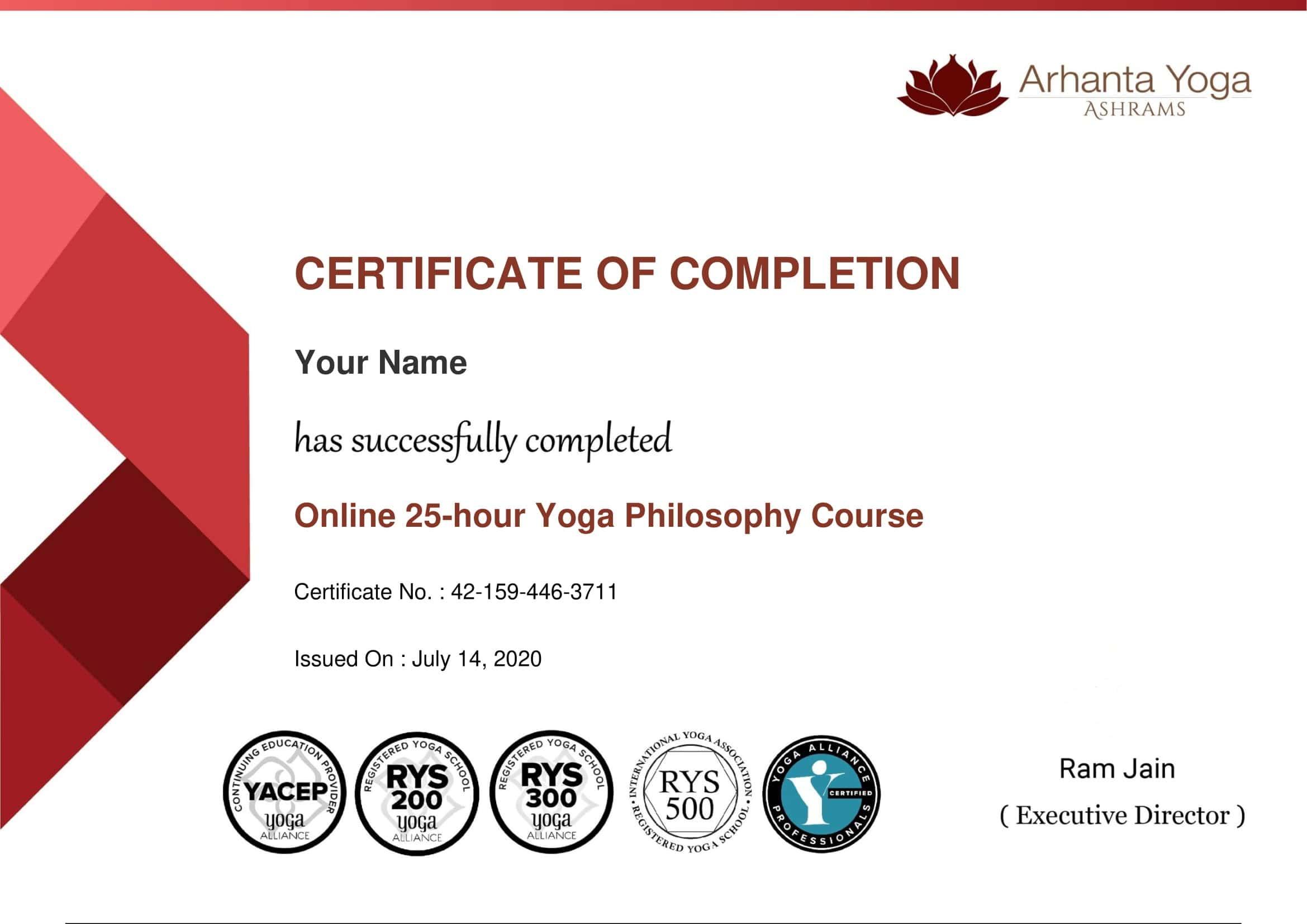 yogafilosofie cursus certificaat